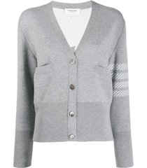 thom browne 4-bar dolphin embroidered cardigan - grey