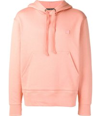 acne studios ferris face cotton hoodie - pink