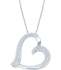 "diamond heart 18"" pendant necklace (1/2 ct. t.w.) in sterling silver"