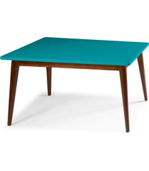 mesa de madeira retangular 160x90 cm novita 609-2 cacau/azul - maxima