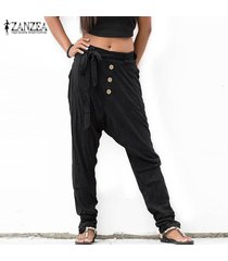 zanzea s-5xl de las mujeres pantalones largos ocasionales de gran tamaño de gota de la entrepierna drape llanura pantalones plus -negro
