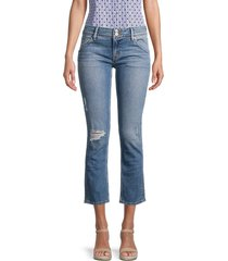 hudson women's collin mid-rise distressed straight jeans - melbourne - size 26 (2-4)