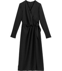 omlottklänning med lång ärm