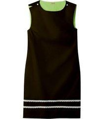 mouwloze jurk met fijne kant-versiering, zwart/avocado 42