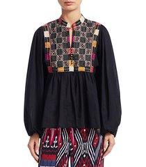nora cotton embroidery blouse