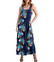 women's floral print sleeveless pocket maxi dress