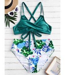 leaves print criss cross lace up plus size bikini swimsuit
