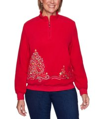 alfred dunner petite tree embroidered pullover