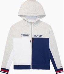 tommy hilfiger women's essential colorblock zip hoodie grey/ white/ blue - l