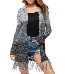 open front hooded heathered tassels cardigan