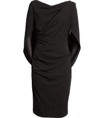 women's betsy & adam drape back scuba crepe cocktail dress, size 16 - black