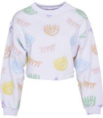 chiara ferragni crop sweatshirt with multicolor print