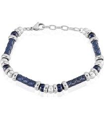 bracciale in acciaio, pelle blu e pietre blu per uomo
