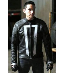 agents of shield ghost rider leather jacket, black leather jacket for men