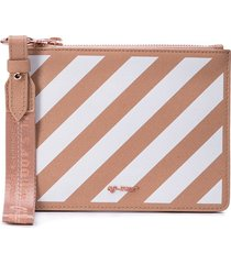 off-white nude and white diag pouch - brown