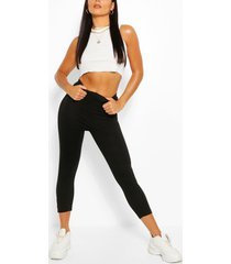 basic cropped jersey legging, black