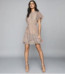 reiss anna - printed mini dress in cream print, womens, size 14
