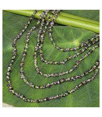 amethyst and peridot strand necklace, 'lavender spring' (thailand)