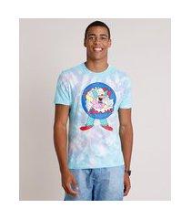 camiseta masculina carnaval krusty os simpsons estampada tie dye manga curta gola careca azul claro