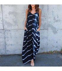 zanzea de rayas bolsillos vestido de verano de las mujeres con cuello en v de la correa de espagueti del vestido largo azul -azul