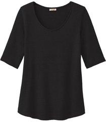 shirt met korte mouwen van bourette zijdenjersey, zwart 34