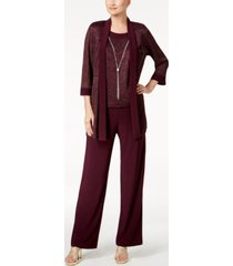 r & m richards metallic pantsuit, shell & necklace set