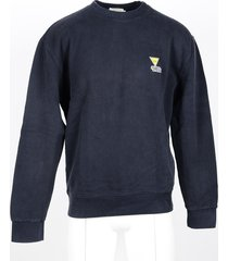 maison kitsuné designer sweatshirts, men's blue sweatshirt