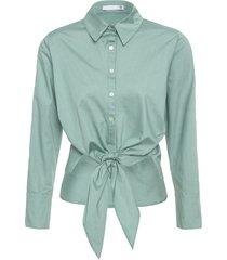 camisa feminina franzido lateral - verde