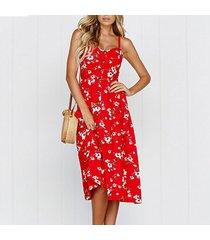 piña de girasol vestido de playa de las mujeres vestidos casuales-rojo