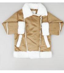 jaqueta infantil em suede com pelo e bolsos caramelo