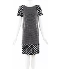 chanel sequin tweed dress black/white sz: s