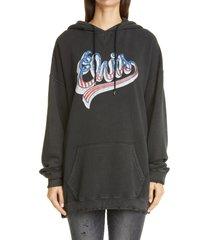 women's r13 elvis graphic hoodie, size medium - black