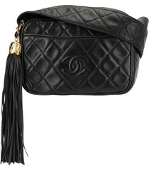chanel pre-owned 1992s quilted fringe crossbody shoulder bag - black