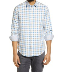 men's bugatchi shaped fit check stretch button-up shirt, size xx-large - brown