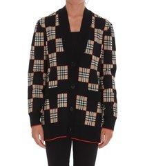 burberry check motif cardigan