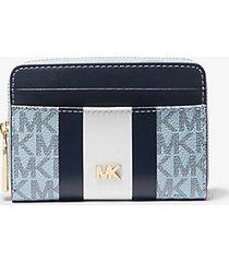 mk portafoglio piccolo a righe con logo - blu pallido/navy (blu) - michael kors