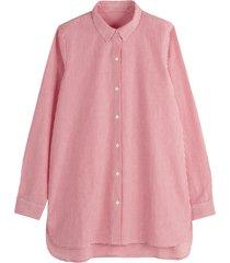 skjorta med lång ärm och asymmetriskt randmönster
