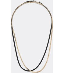 river island mens gold colour layered chain necklace