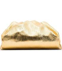 bottega veneta the pouch textured clutch - gold