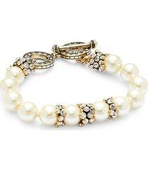 goldplated, faux pearl & crystal bracelet