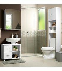 conjunto kit de banheiro com gabinete e armã¡rio multimã³veis branco - branco - dafiti