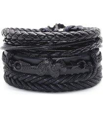 pulsera 4 manillas de cuero cupido amor corazones brazalete para mujeres y hombres color negro