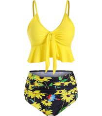 high waisted ruched sunflower tie front tankini swimsuit