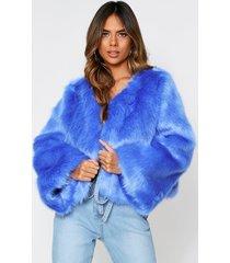 faux fur cropped jacket, blue