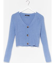 womens button-down for whatever fluffy knit cardigan - blue
