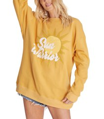 wildfox roadtrip sun graphic oversize sweatshirt, size x-small in citrine at nordstrom