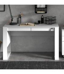 mesa escrivaninha 2 gavetas com chave me4144 branco - tecno mobili