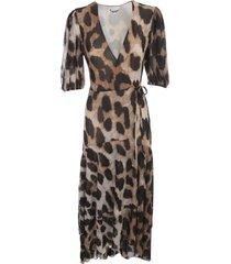 ganni printed mesh long dress l/s v neck animalier