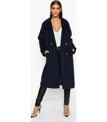 brushed double breasted wool look coat, navy
