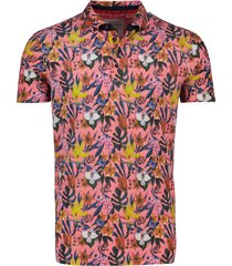 roze poloshirt bloemenprint a fish named fred